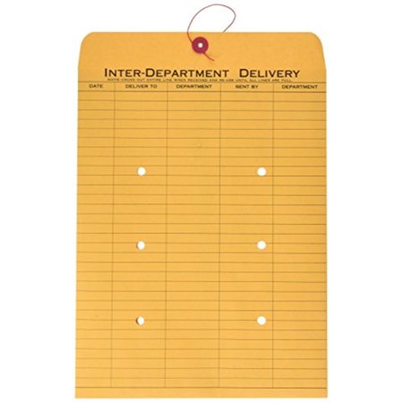 quality park 1-side print interoffice envelopes, string-tie, brown kraft, 10 x 13, 100 per carton, (63563) ()