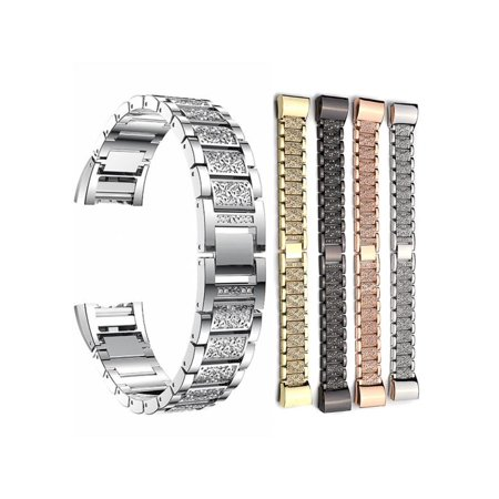 Luxury Stainless Steel Crystal Strap for Fitbit Charge 2 Smart Fitness Tracker Band - Bracelet Link Replacement with Durable Clasp Birthday