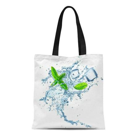 ASHLEIGH Canvas Tote Bag Blue Mint Water Splash Over Peppermint Fresh Leaf Frozen Reusable Shoulder Grocery Shopping Bags Handbag