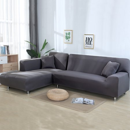 Sofa Covers for L Shape, 2pcs Polyester Fabric Stretch Slipcovers + 2pcs  Pillow Covers for Sectional sofa L-shape Couch - Solid Color Light Gray