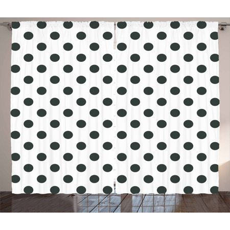 Retro Curtains 2 Panels Set, Nostalgic Polka Dots Pattern with Large Round Circles Minimalist Modern Art Print, Window Drapes for Living Room Bedroom, 108W X 84L Inches, Black White, by Ambesonne ()