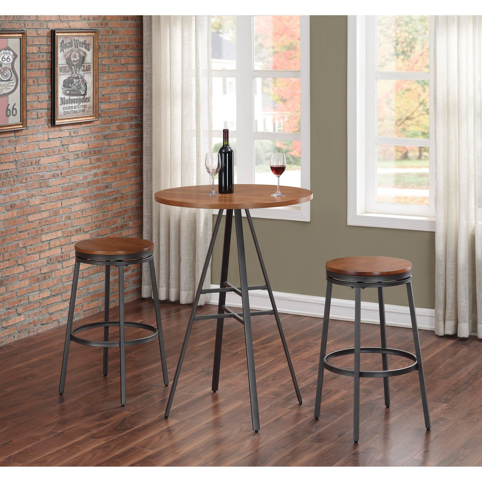 American Woodcrafters Stockton 3 Piece Pub Table Set with Backless Swivel Stools