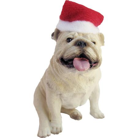 Sandicast Sitting White Bulldog with Santa