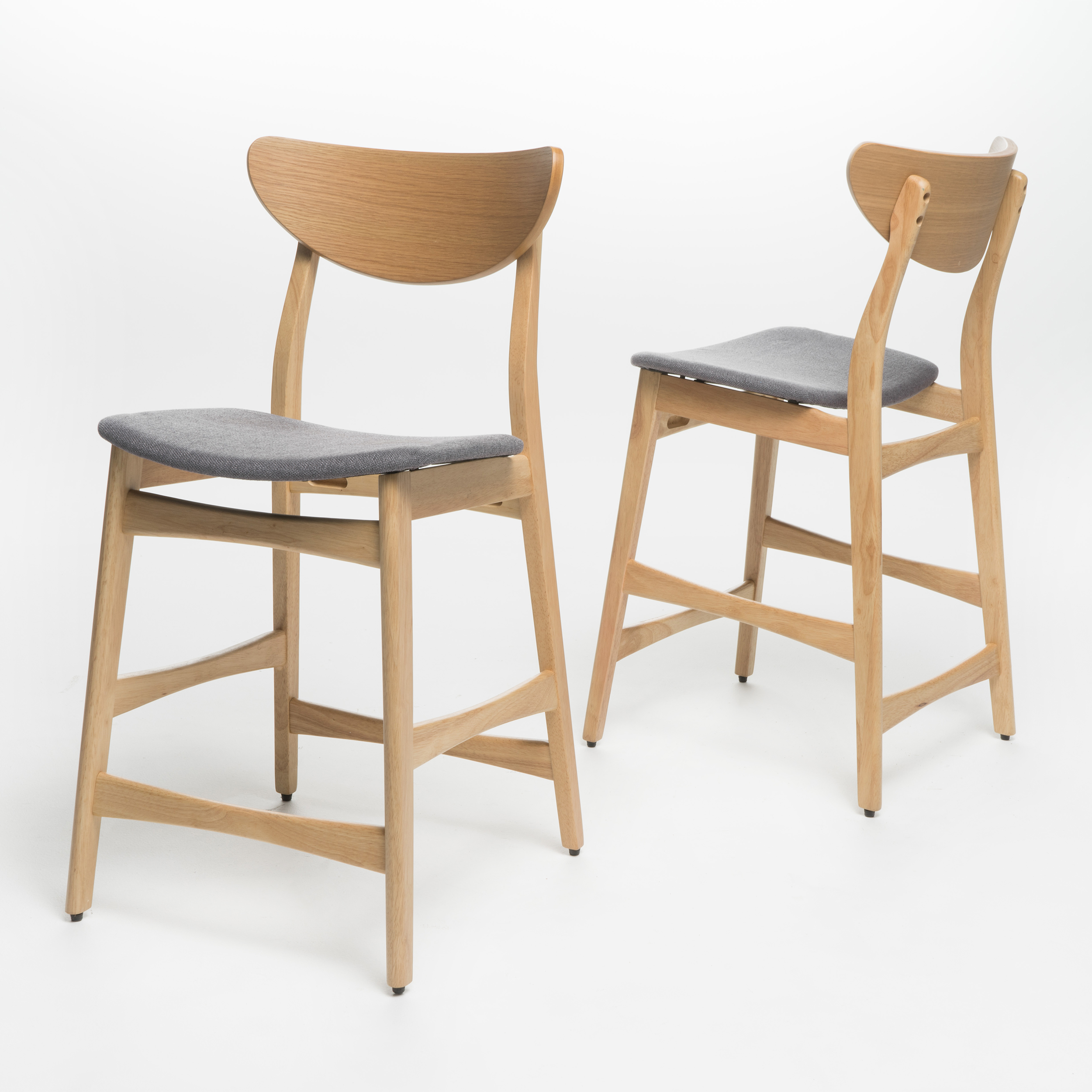 Skriver Fabric Counter Chair, Set of 2, Dark Grey/ Oak Finish