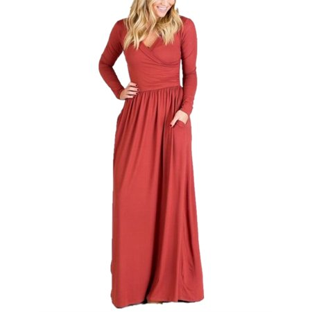 c6ea40ec0cef SySea - Long Sleeve Women's V-neck Solid Long Maxi Dress - Walmart.com