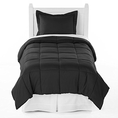 Black Solid Down Alternative Comforter & Pillow Sham Cover Set Twin