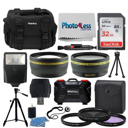 Professional 55mm Lens Filters + SLR/DSLR Accessory Kit - Photo4Less Case + 32GB Memory Card + 55mm Telephoto & Wide Angle Lens + Slave Flash + Quality Tripod + USB Card Reader + 3 Piece UV