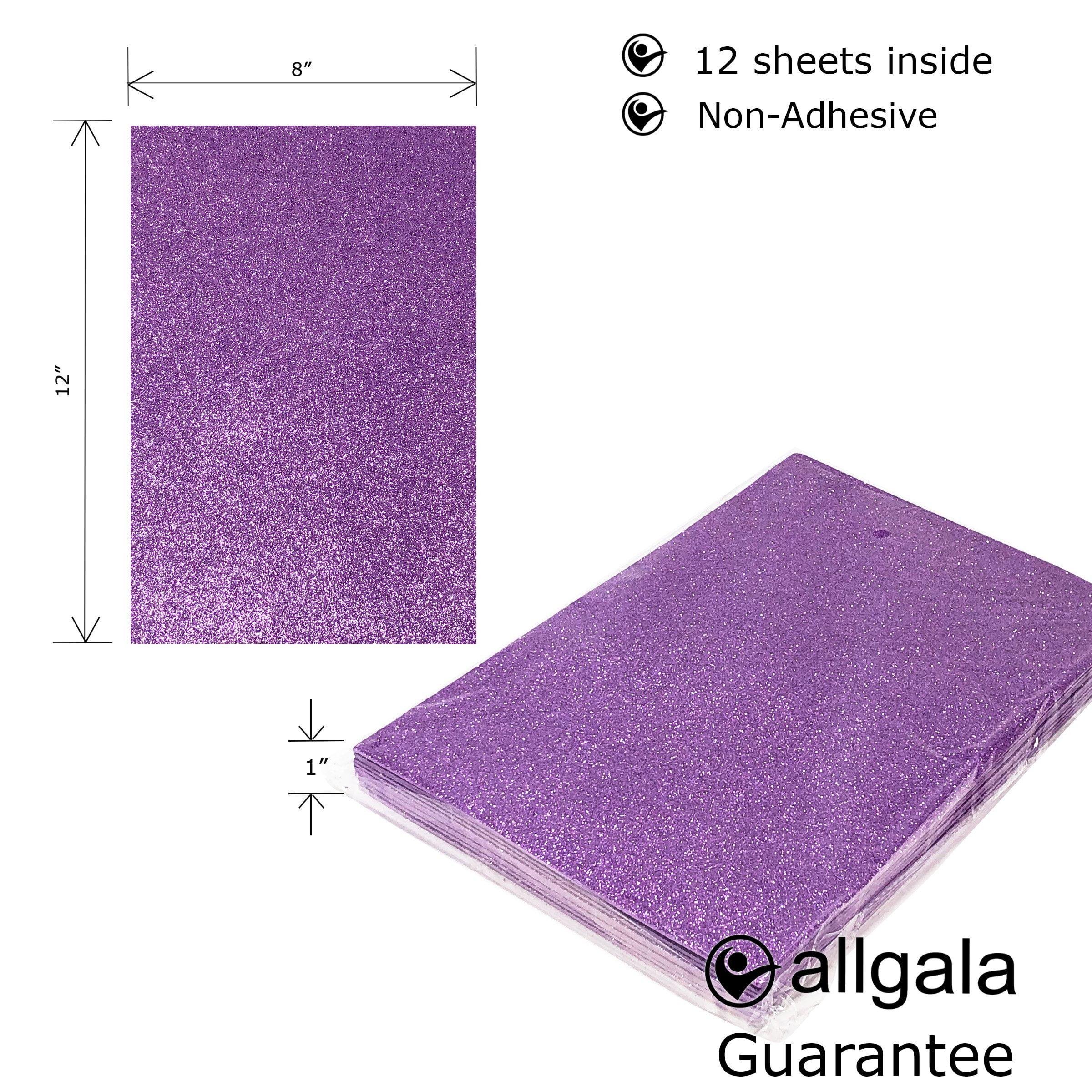 Allgala 12 Pack Self-Adhesive Glitter EVA Foam Paper 8 x 12inch Sheets-Black-CF85210