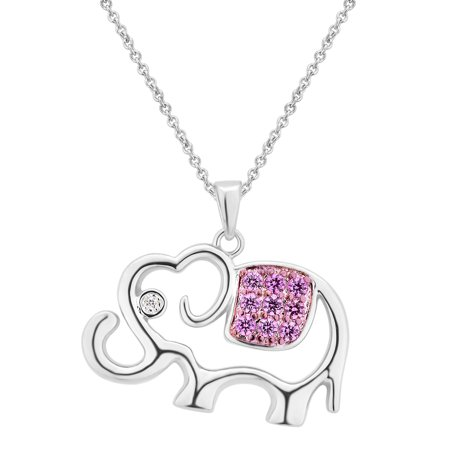 Ruby and White Sapphire Silver tone Elephant Pendent