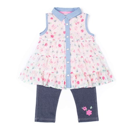 Floral Outfit Girl - Floral Printed Sleeveless Top and Legging, 2-Piece Outfit Set (Little Girls)