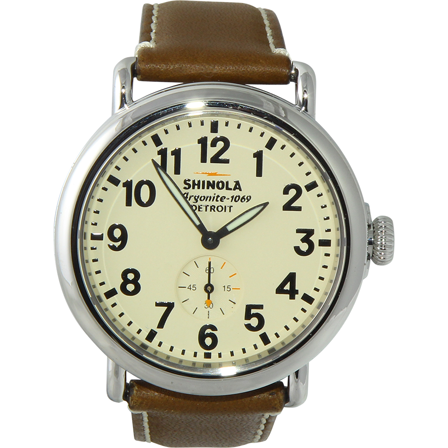 SHINOLA The Runwell Cream Dial Dark Nut Brown Leather Men's Watch S0100110