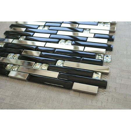 (silver stainless steel tile + silver glass tile (diamond shape) + black glass mosaic tile)