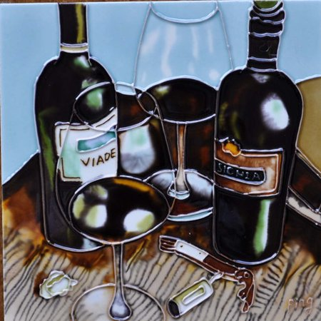 Continental Art Center Wine With Light Blue Background Tile Wall Decor