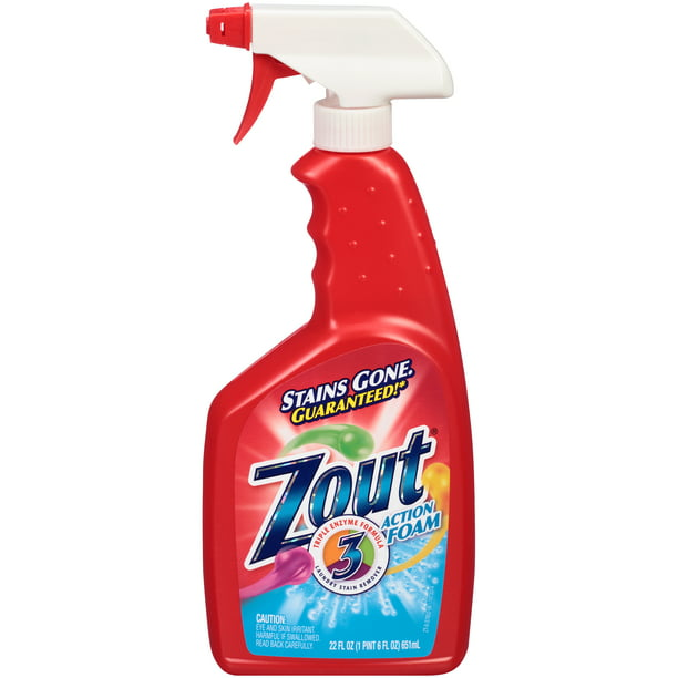 Zout Laundry Stain Remover, Foam Action, Triple Enzyme, 22 Ounce