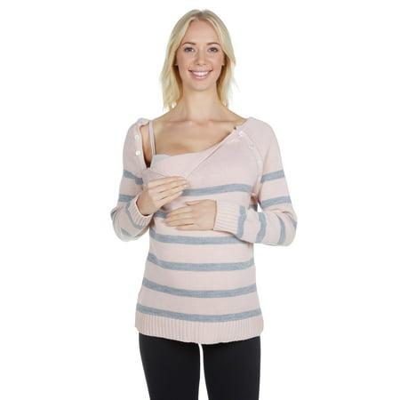 - Women's Maternity Snap Down Wide Scoop Neck Raglan Nursing Sweater