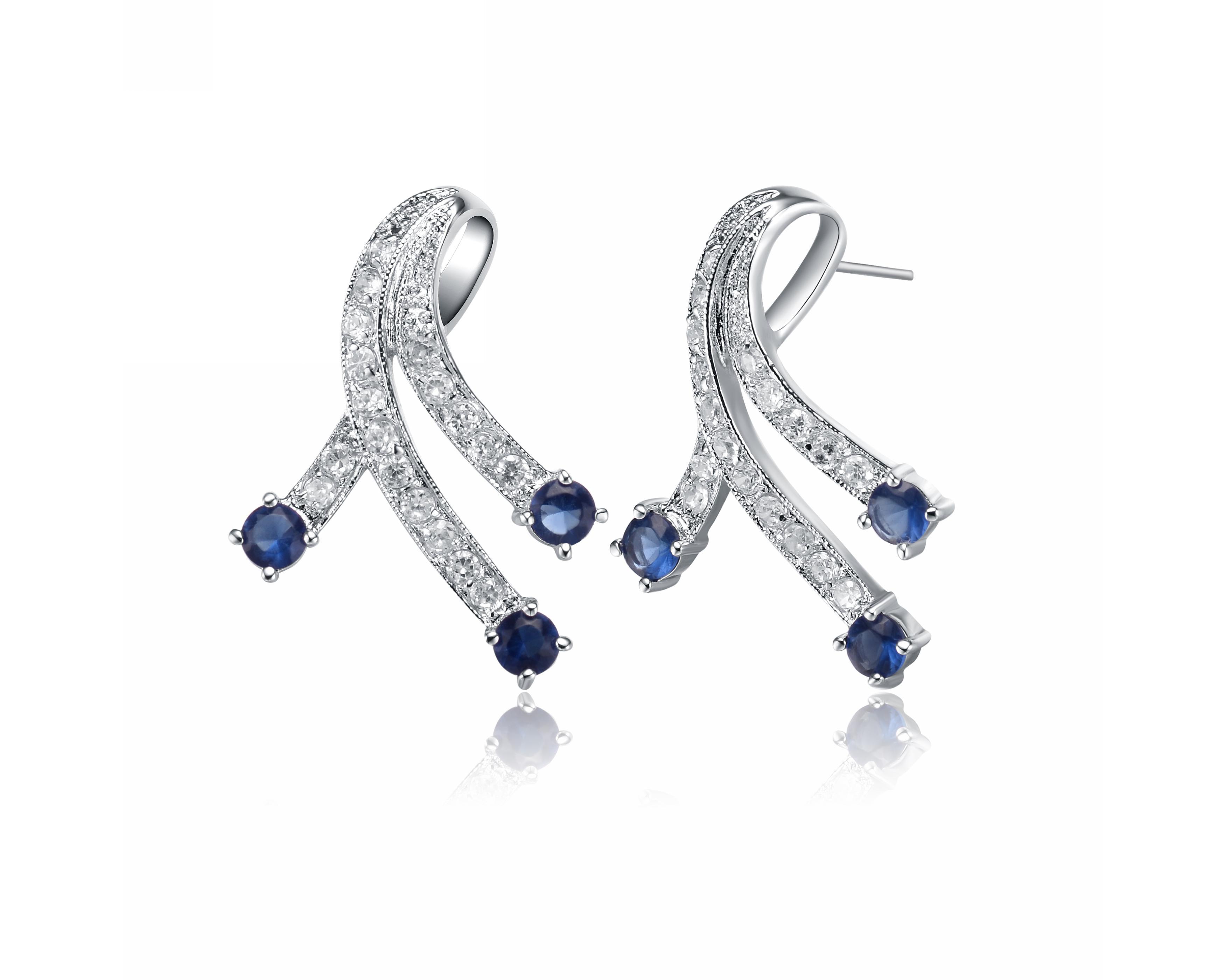 Rozzato Sterling Silver Cubic Zirconia & Blue Ribbon Earrings by Rozzato Jewelry