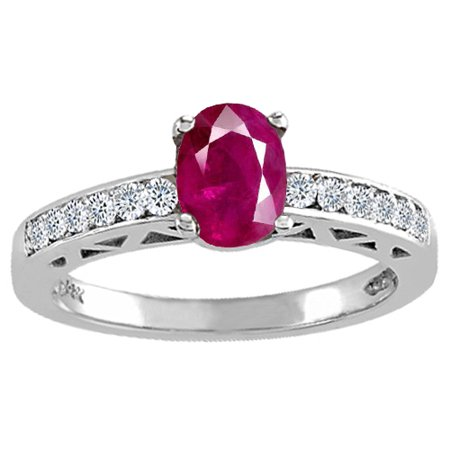 Tommaso Design Genuine Ruby and Diamond Solitaire Engagement