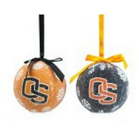 State Licensed Sports Metal (NCAA Licensed Oregon State Beavers LED Light-up Ornament Set of 2 )