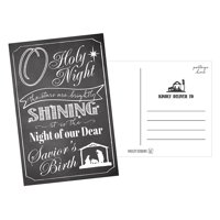 50 Chalk Holiday Greeting Cards, Cute Fancy Blank Winter Christmas Postcard Set, Bulk Pack of Premium Seasons Greetings Note, Happy New Years Cards for Kids, Business Office or Church Thank You Notes