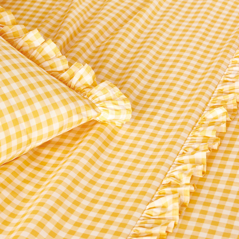 Yellow bkb Gingham Toddler Sheet Set