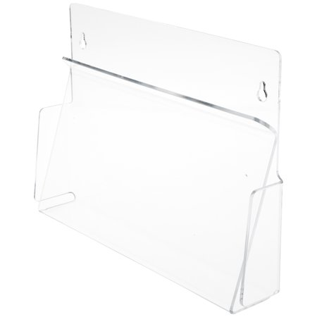 Plymor Clear Acrylic Horizontal Pinch-Style Paper / Catalog Literature Holder (Wall-Mount), Fits 8.5