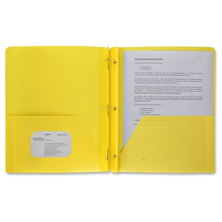 """Business Source 3-Hole Punched Poly Portfolios - Letter - 8 1/2"""" x 11"""" Sheet Size - 50 Sheet Capacity - 3 x Prong Fastener(s) - 2 Pocket(s) - Poly - Yellow - 1 Each"""