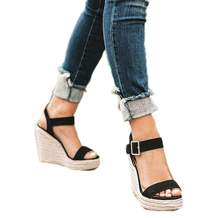 Heel Dorsay Style Platform Sandal (Women Wedge Heel Platform S Sandals Buckle Peep Toe Shoes Summer Beach)
