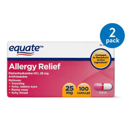 (2 Pack) Equate Allergy Relief Diphenhydramine Antihistamine Capsules, 25 mg, 100 Ct