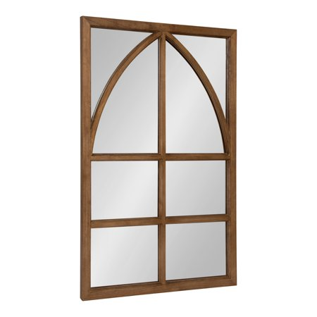 - Kate and Laurel Hogan Modern Wood Framed Rectangular Wall Mirror with Arch Overlay Detail, Rustic Caramel 36x24