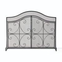 """41"""" Black and Silver Contemporary 3 Paneled Fireplace Screen"""