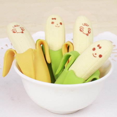 2PCS Banana Fruit Style Rubber Pencil Eraser Office Stationery Gift -