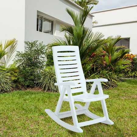 Molded White Plastic Armchair Rocker Midcentury Rocking Chairs