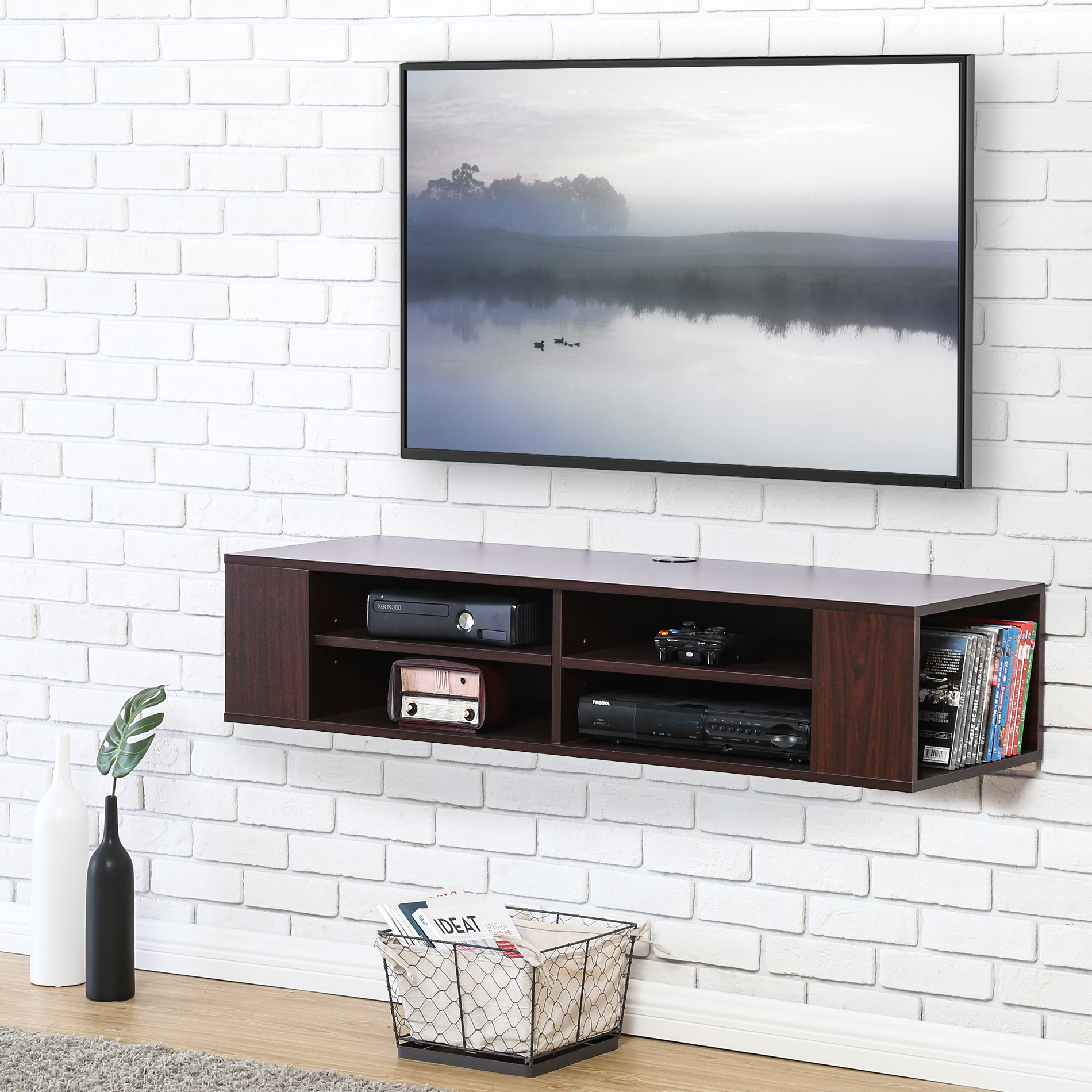 Fitueyes Wall Mounted Tv Stand Media Console for up to 48 inch TV DS210001WB