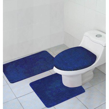 Brilliant Hailey 3 Piece Bathroom Rug Set Bath Mat Contour Rug Toilet Seat Lid Cover Navy Gmtry Best Dining Table And Chair Ideas Images Gmtryco