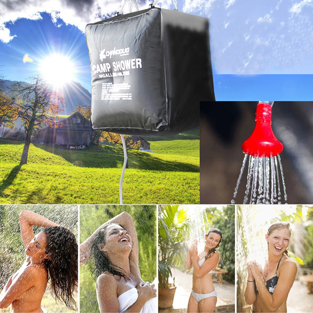 Outgeek 40L Outdoor Solar Heated Portable Shower Bag for Camping Hiking Travel (Black)