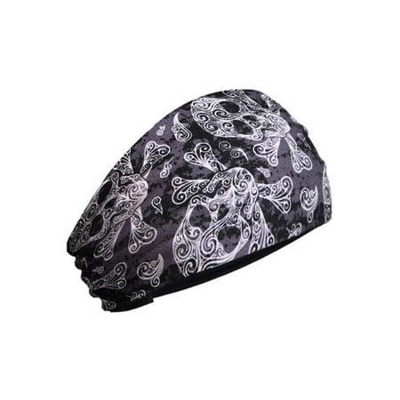 Skull And Crossbones Headwrap (That's A Wrap Women's Swirly Skulls & Crossbones Knotty Band Headwrap, KB2815)