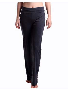 9e2c993cbb Product Image HDE Women's Fold Over Waist Yoga Lounge Pants Flare Leg  Workout Leggings (Dark Blue,