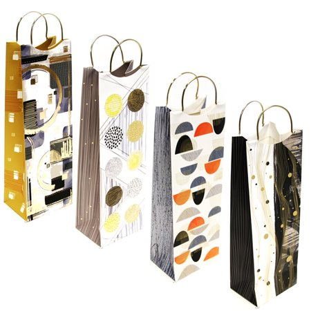 Wine Bottle Gift Bags, Exclusive Wine Bags, 4 Unique Designs with Gold Metal Handle, Gift - Wine Bottle Gift Bags