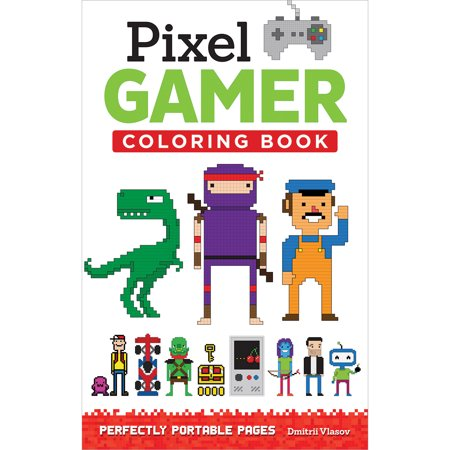 Pixel gamer adult coloring book perfectly portable pages Coloring book walmart