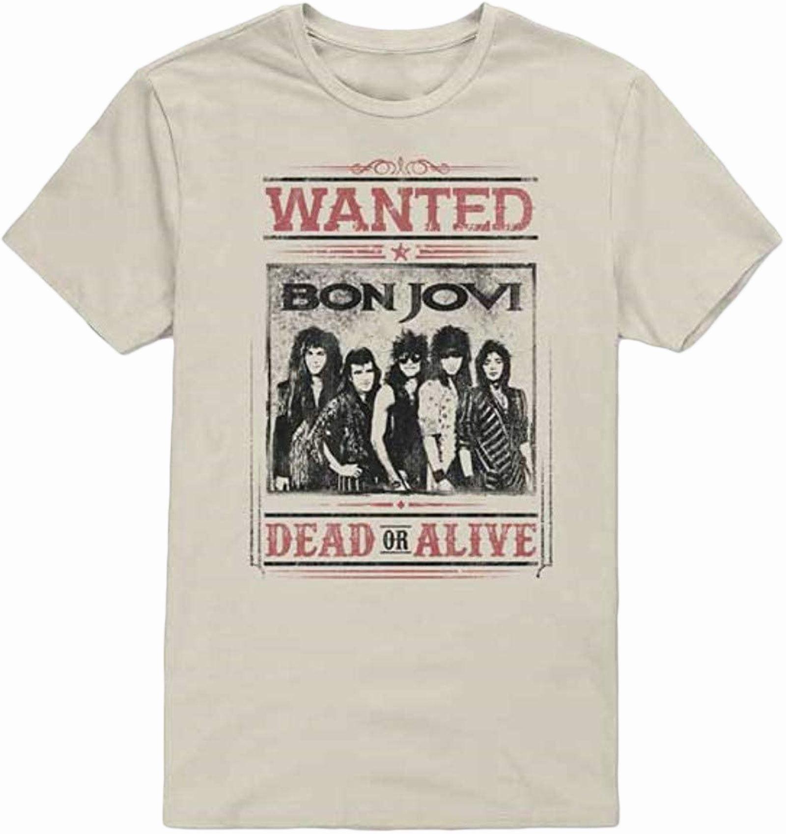 Bon Jovi Dead Or Alive Natural Adult T-Shirt