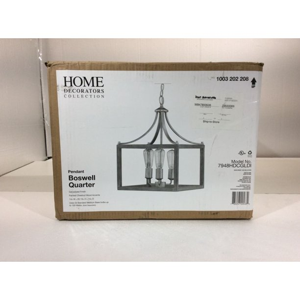 Home Decorators Collection Boswell Quarter 3 Light Galvanized Pendant With Painted Chestnut Wood Accents New Open Box Walmart Com Walmart Com