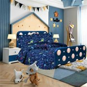 FULL DINOSAUR NAVY BOYS BEDDING SET, Beautiful Microfiber Comforter With Furry Friend and Sheet Set (8 Piece Kids Bed In A Bag)