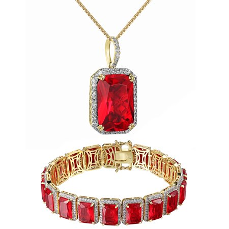 Red Ruby Cz Solitaire Pendant And Bracelet Set 14K Gold Finish Free 24 Inch Chain Combo