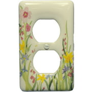 Leviton Wildflower Pattern Porcelain Receptacle Wallplate Duplex Outlet Cover 89503-WFL