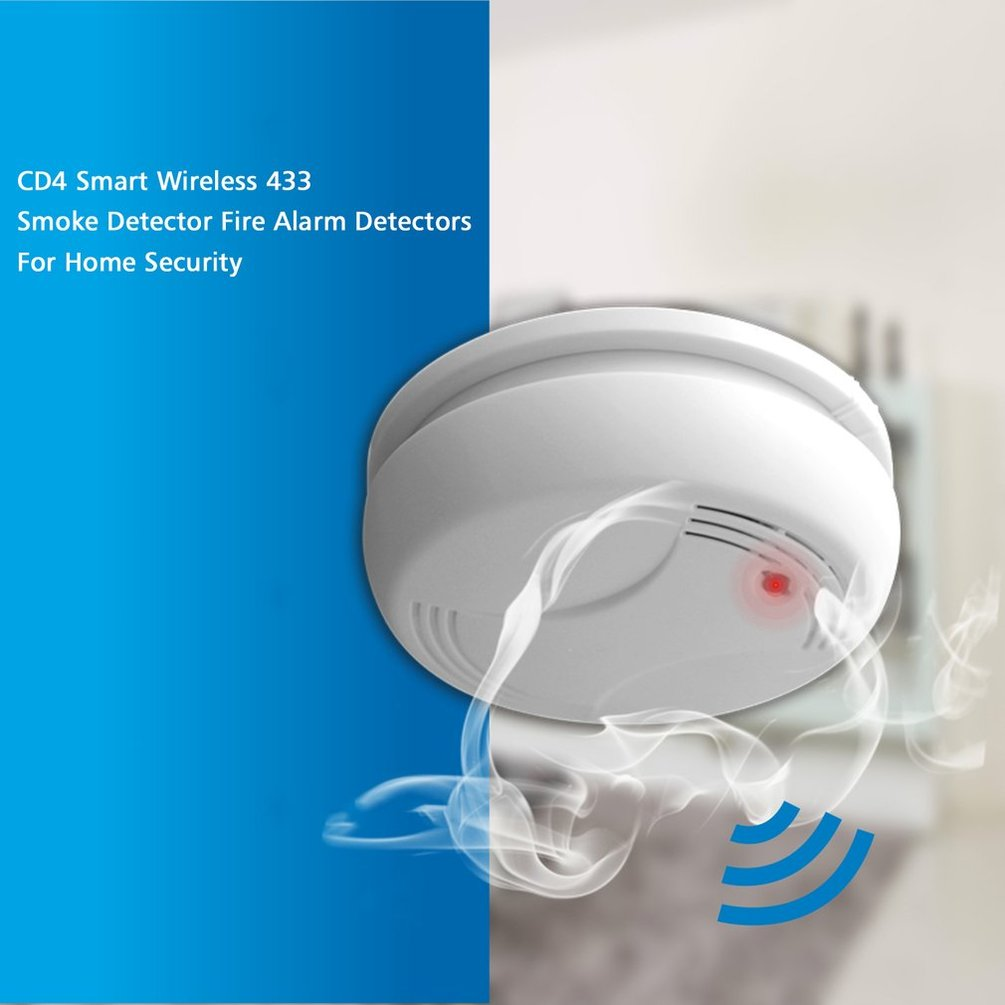 CD4 Smart Wireless 433 Smoke Detector Fire Alarm Detectors For Home Security