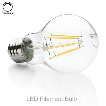 FluxSmart LED Filament Edison Light Bulb - Dimmable Warm White 8W - 60W Equivalent A19 E26/27 Base 2700K