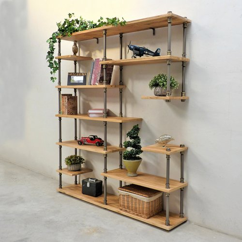 Williston Forge Cirillo Industrial Mid-Century Etagere Bookcase by