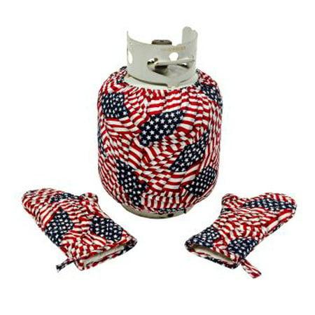 Tank Topper With Matching Bbq Mitt Set   American Flag Theme