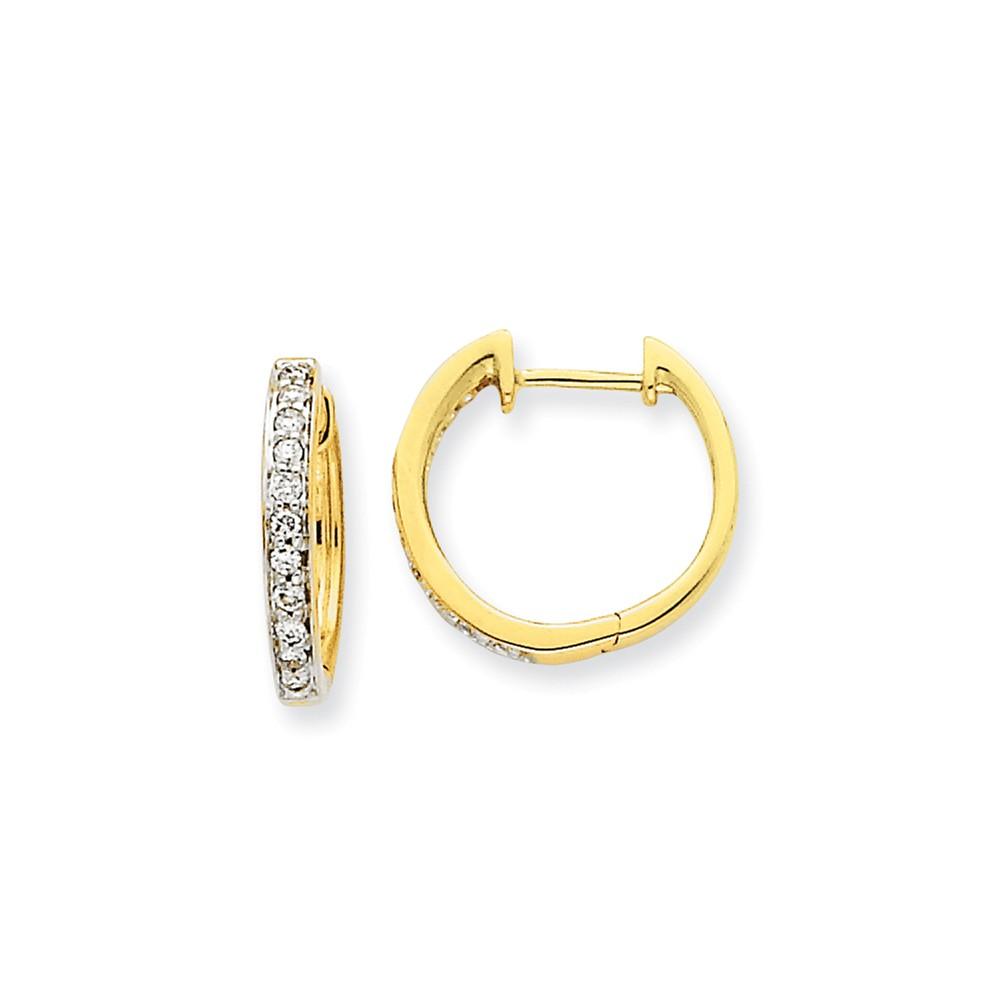14k Yellow Gold H-I SI2 Quality Diamond Hoop Huggie Earrings. Carat Wt- 0.24ct (0.6IN Diameter)