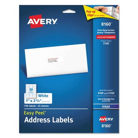 Avery R  Easy Peel R  Address Labels For Inkjet Printers 8160  1  X 2 5 8   Pack Of 750